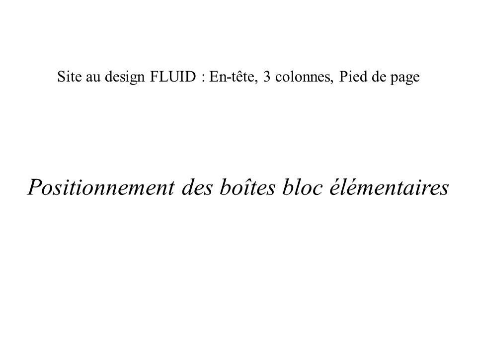 Site au design FLUID : En-tête, 3 colonnes, Pied de page Positionnement des boîtes bloc élémentaires
