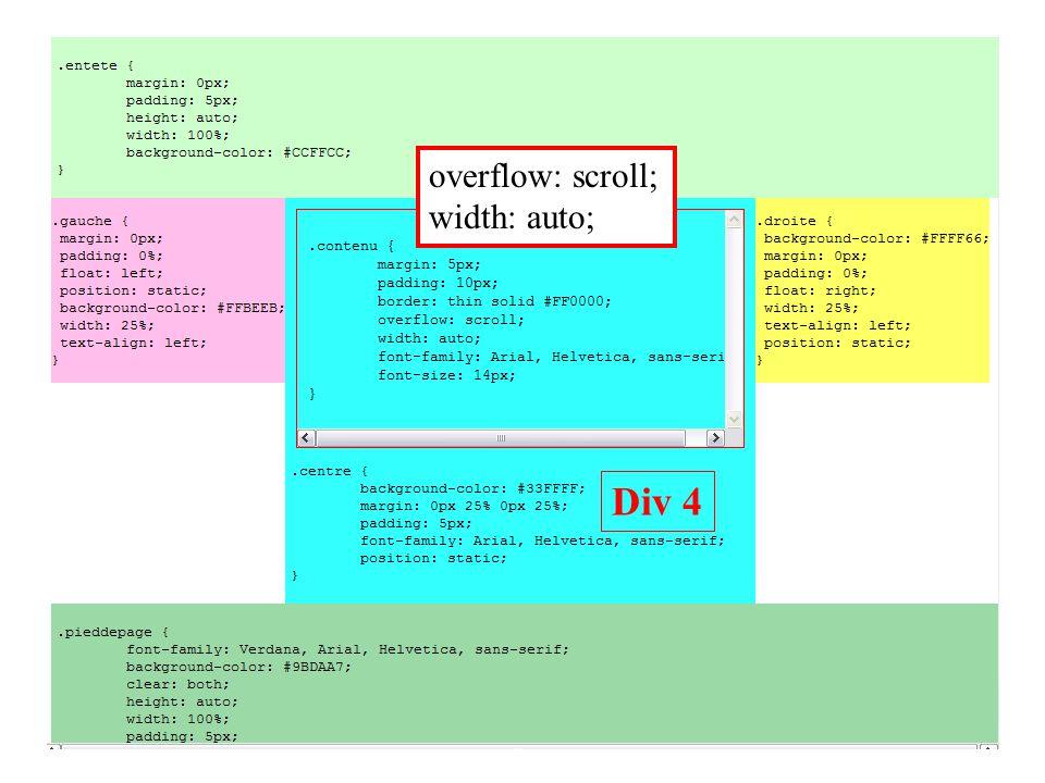 Div 4 overflow: scroll; width: auto;