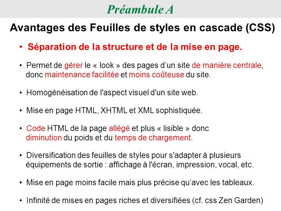 Préambule A Avantages des Feuilles de styles en cascade (CSS) Diversification des feuilles de styles pour s'adapter à plusieurs équipements de sortie