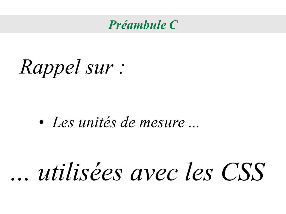 Les unités de mesure... Rappel sur : … utilisées avec les CSS Préambule C