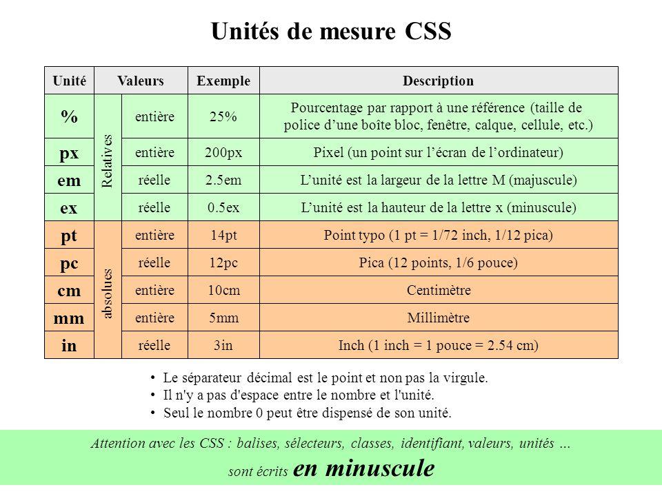 ValeursDescription Unités de mesure CSS UnitéExemple Relatives Pourcentage par rapport à une référence (taille de police dune boîte bloc, fenêtre, cal
