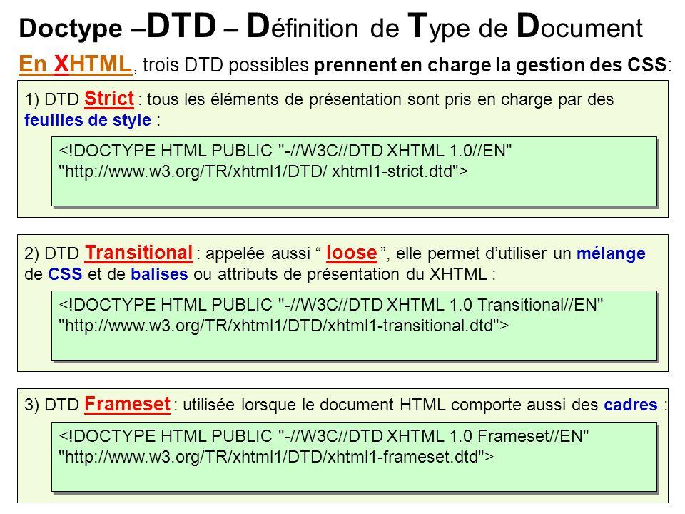 Doctype – DTD – D éfinition de T ype de D ocument 1) DTD Strict : tous les éléments de présentation sont pris en charge par des feuilles de style : <!