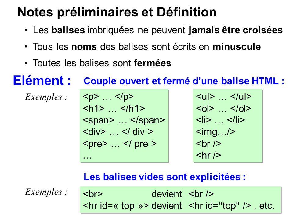 Notes préliminaires et Définition Elément : Couple ouvert et fermé dune balise HTML : Exemples : … Les balises imbriquées ne peuvent jamais être crois