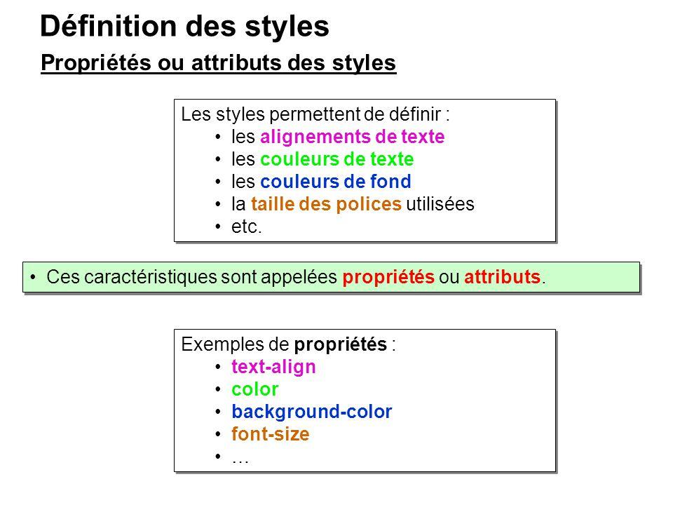 Les styles permettent de définir : les alignements de texte les couleurs de texte les couleurs de fond la taille des polices utilisées etc. Les styles