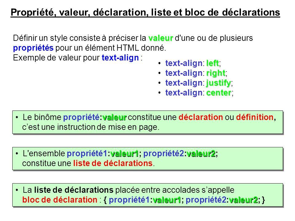 valeur Définir un style consiste à préciser la valeur d'une ou de plusieurs propriétés pour un élément HTML donné. Exemple de valeur pour text-align :
