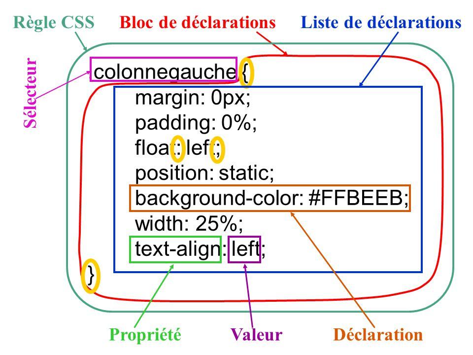 .colonnegauche { margin: 0px; padding: 0%; float: left; position: static; background-color: #FFBEEB; width: 25%; text-align: left; } Bloc de déclarati