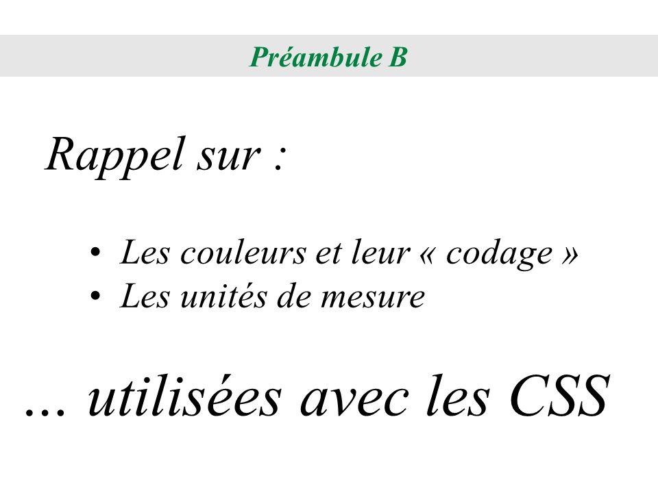 Les couleurs et leur « codage » Les unités de mesure Rappel sur : … utilisées avec les CSS Préambule B