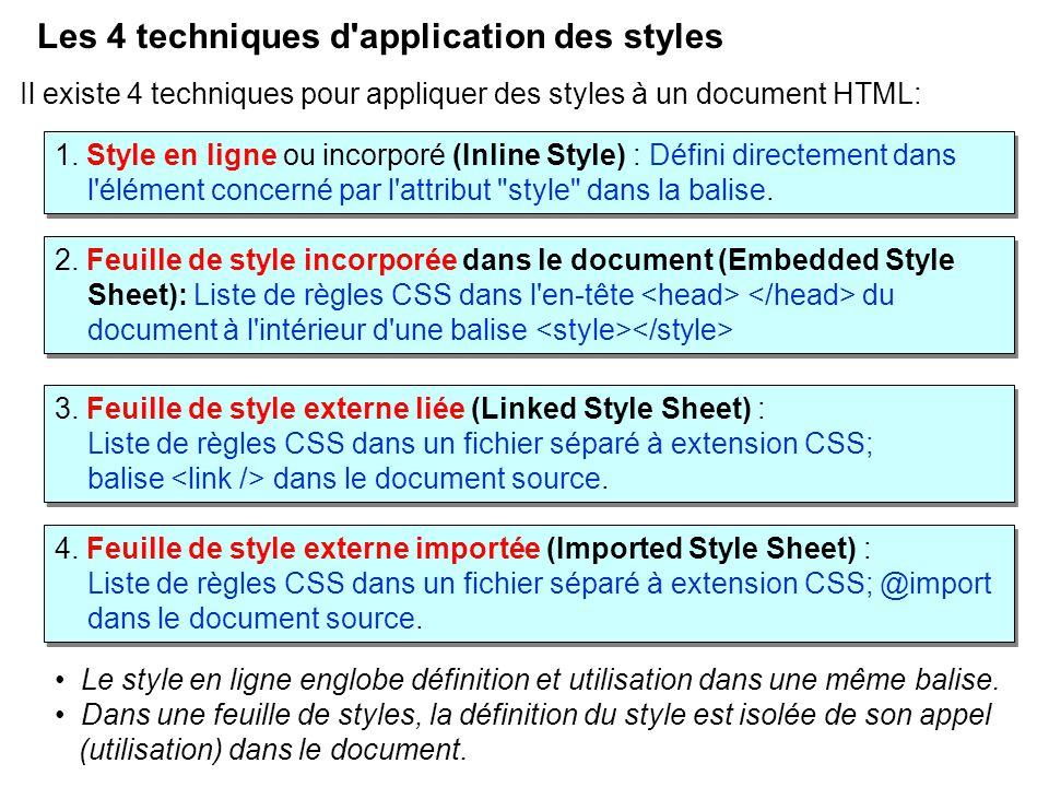 Les 4 techniques d'application des styles Il existe 4 techniques pour appliquer des styles à un document HTML: 1. Style en ligne ou incorporé (Inline