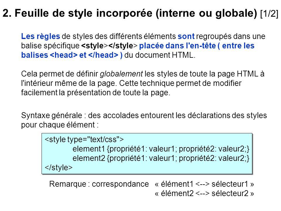 Les règles de styles des différents éléments sont regroupés dans une balise spécifique placée dans l'en-tête ( entre les balises et ) du document HTML