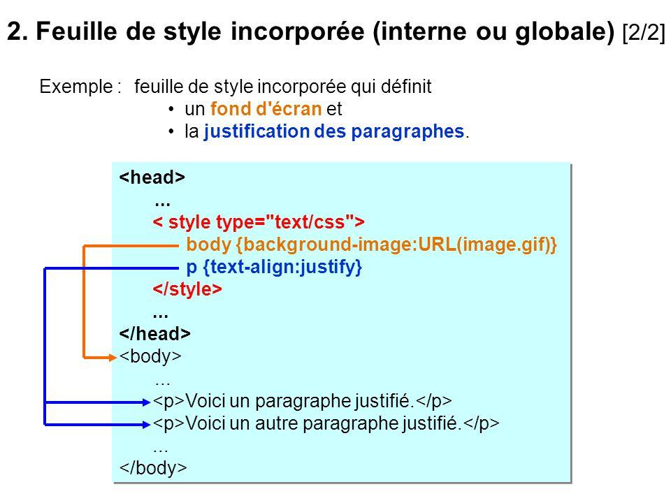feuille de style incorporée qui définit un fond d'écran et la justification des paragraphes.... body {background-image:URL(image.gif)} p {text-align:j