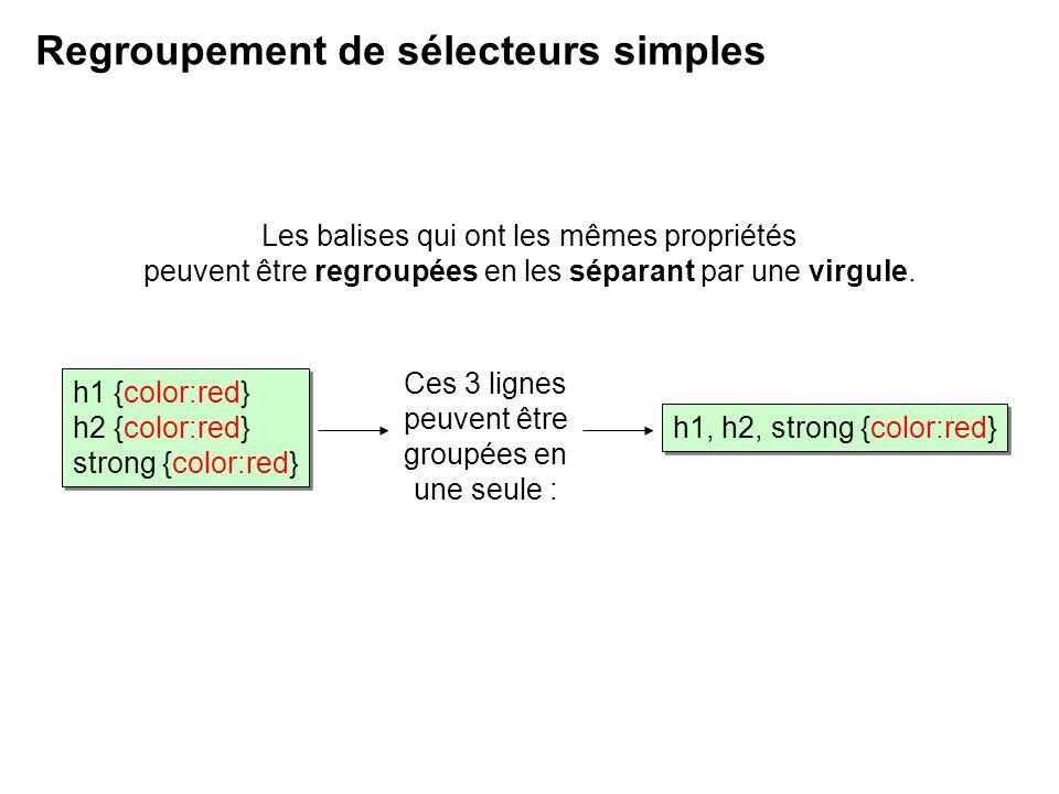 Les balises qui ont les mêmes propriétés peuvent être regroupées en les séparant par une virgule. Regroupement de sélecteurs simples Ces 3 lignes peuv