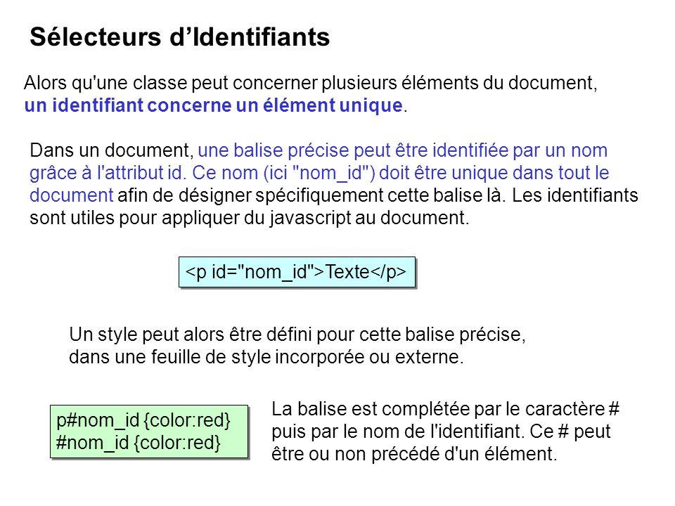 Alors qu'une classe peut concerner plusieurs éléments du document, un identifiant concerne un élément unique. Sélecteurs dIdentifiants p#nom_id {color