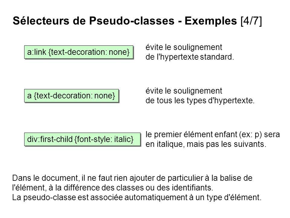 évite le soulignement de l'hypertexte standard. Sélecteurs de Pseudo-classes - Exemples [4/7] Dans le document, il ne faut rien ajouter de particulier