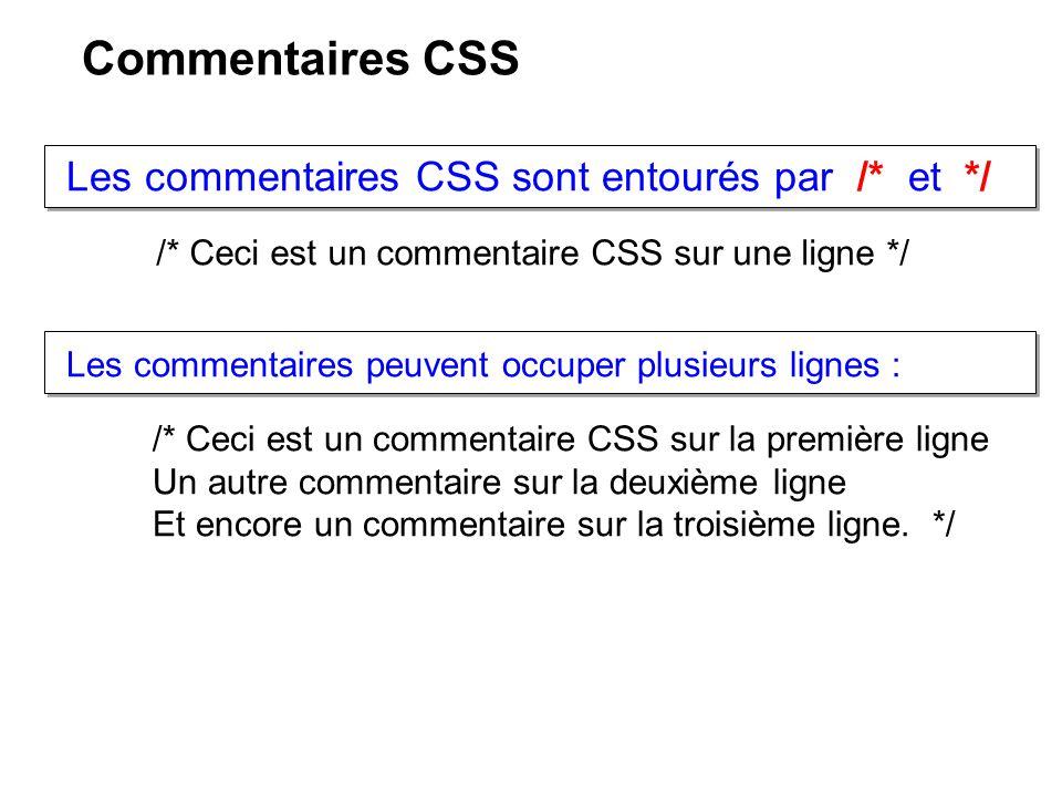 Commentaires CSS Les commentaires CSS sont entourés par /* et */ /* Ceci est un commentaire CSS sur une ligne */ /* Ceci est un commentaire CSS sur la