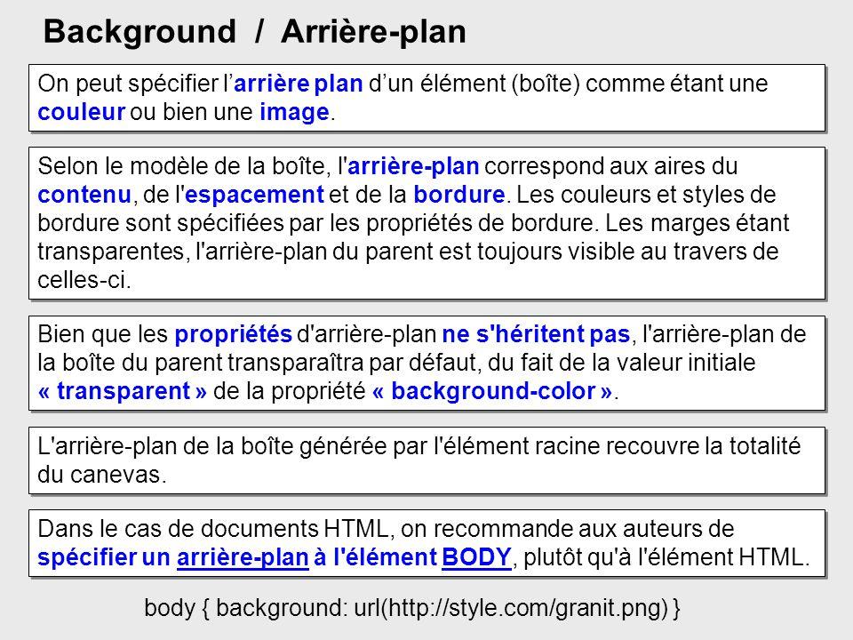 Background / Arrière-plan Selon le modèle de la boîte, l'arrière-plan correspond aux aires du contenu, de l'espacement et de la bordure. Les couleurs