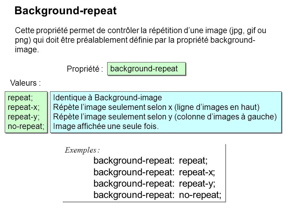 Background-repeat Cette propriété permet de contrôler la répétition dune image (jpg, gif ou png) qui doit être préalablement définie par la propriété
