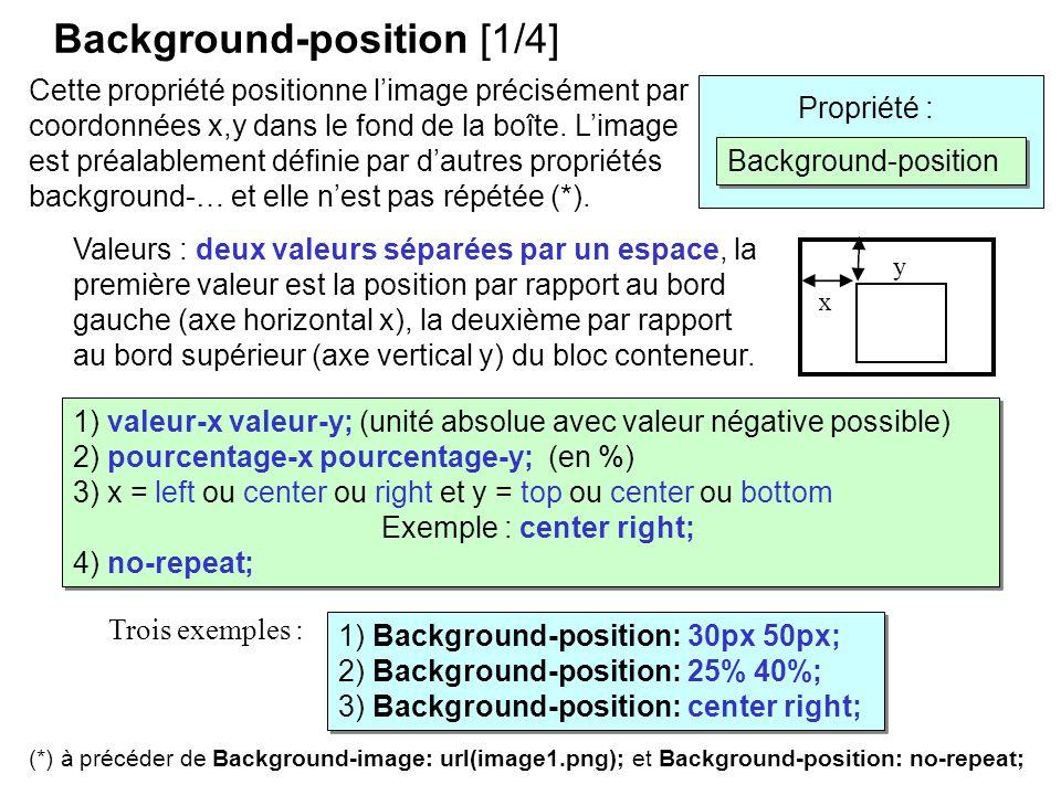 Background-position [1/4] Cette propriété positionne limage précisément par coordonnées x,y dans le fond de la boîte. Limage est préalablement définie