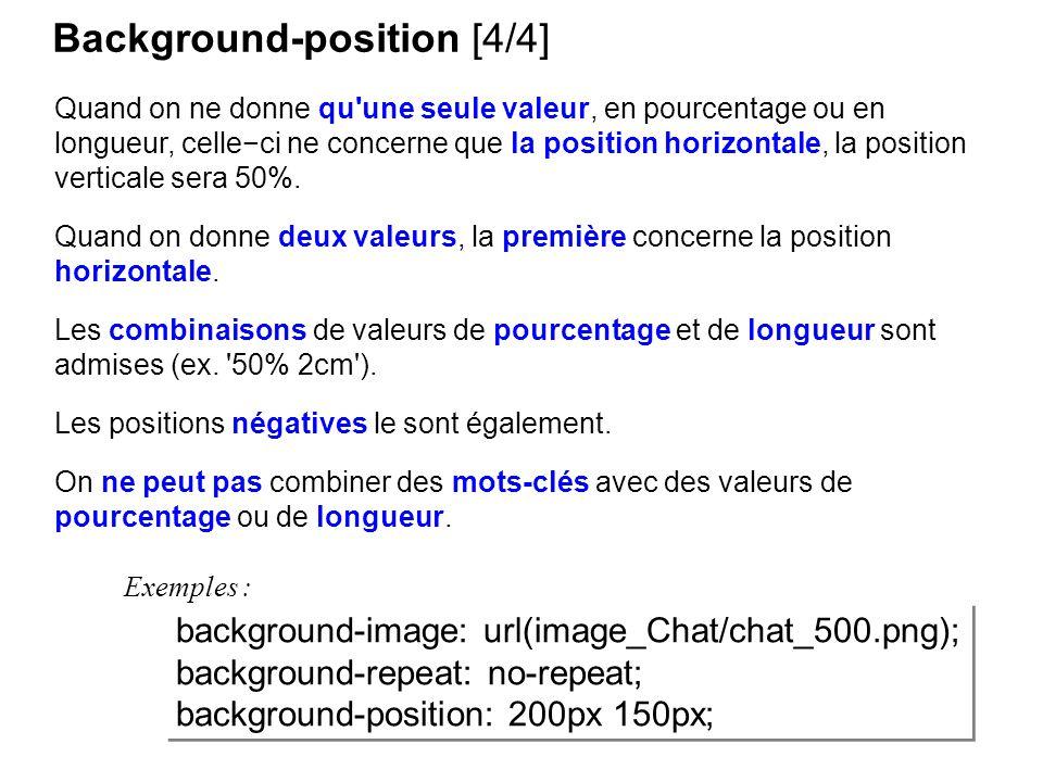 Background-position [4/4] Quand on ne donne qu'une seule valeur, en pourcentage ou en longueur, celleci ne concerne que la position horizontale, la po