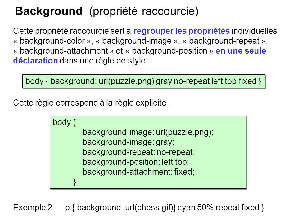 Background (propriété raccourcie) Cette propriété raccourcie sert à regrouper les propriétés individuelles « background-color », « background-image »,