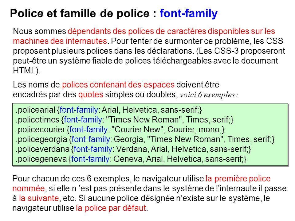 Les noms de polices contenant des espaces doivent être encadrés par des quotes simples ou doubles, voici 6 exemples : Police et famille de police : fo