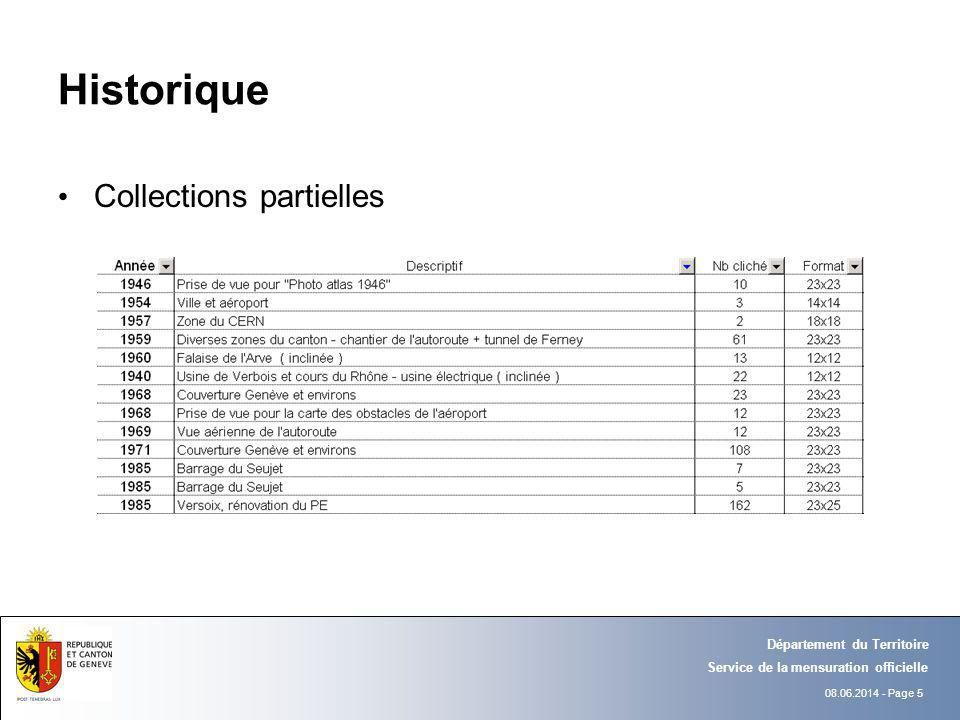 08.06.2014 - Page 5 Département du Territoire Service de la mensuration officielle Historique Collections partielles