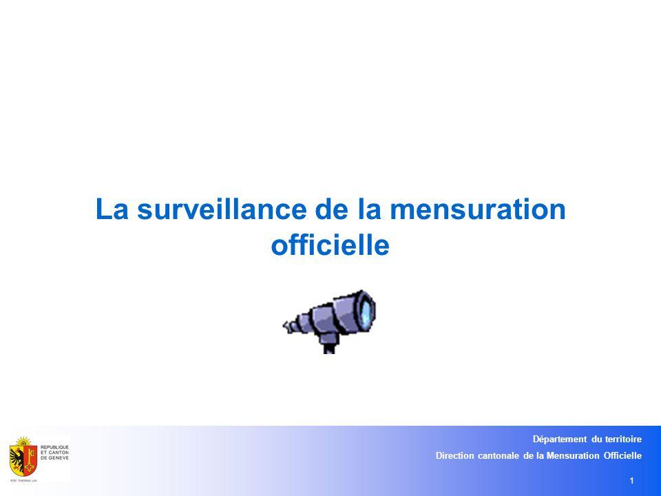Département du territoire Direction cantonale de la Mensuration Officielle 1 La surveillance de la mensuration officielle