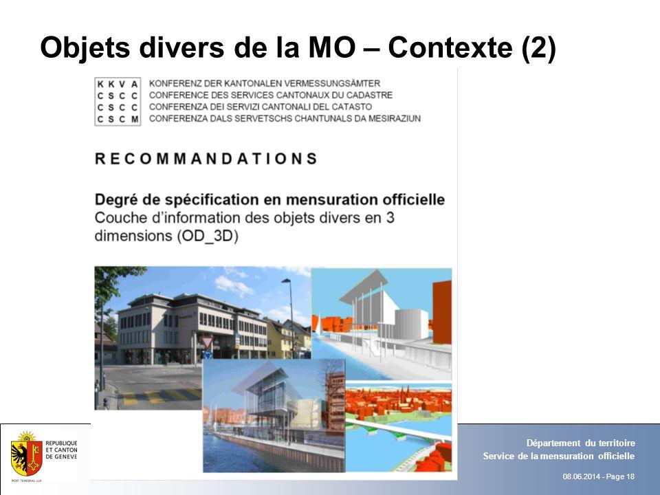 08.06.2014 - Page 18 Objets divers de la MO – Contexte (2) Service de la mensuration officielle Département du territoire