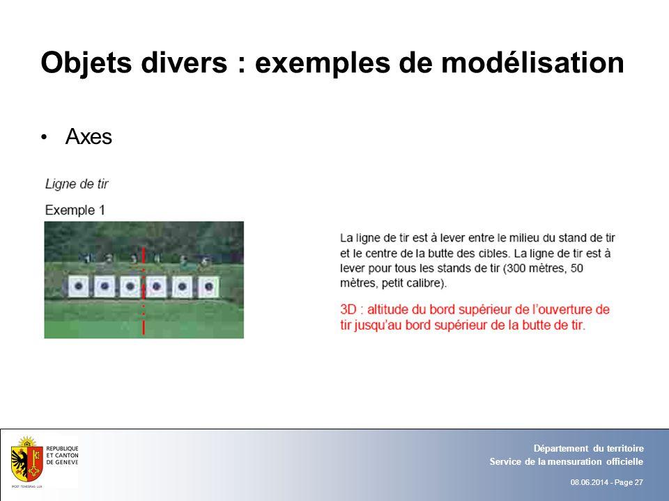 08.06.2014 - Page 27 Objets divers : exemples de modélisation Axes Service de la mensuration officielle Département du territoire