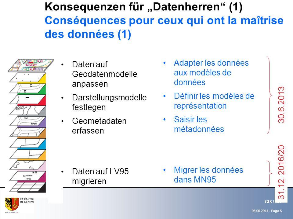 08.06.2014 - Page 5 GIS / SIT Konsequenzen für Datenherren (1) Conséquences pour ceux qui ont la maîtrise des données (1) Daten auf Geodatenmodelle anpassen Darstellungsmodelle festlegen Geometadaten erfassen Daten auf LV95 migrieren Adapter les données aux modèles de données Définir les modèles de représentation Saisir les métadonnées Migrer les données dans MN95 30.6.2013 31.12.