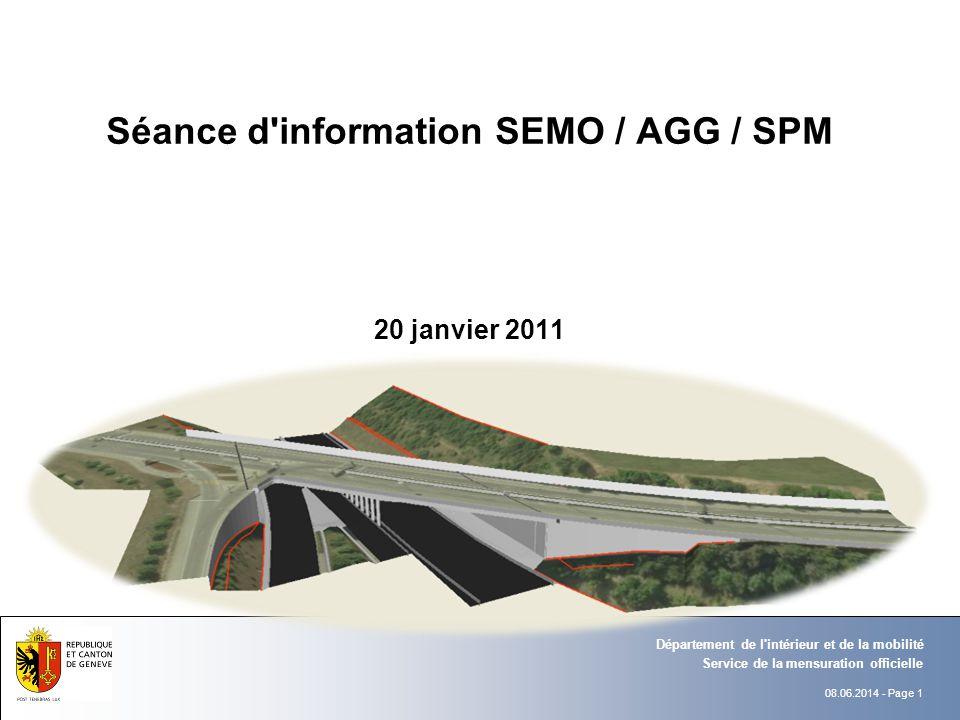 08.06.2014 - Page 1 Service de la mensuration officielle Département de l'intérieur et de la mobilité Séance d'information SEMO / AGG / SPM 20 janvier