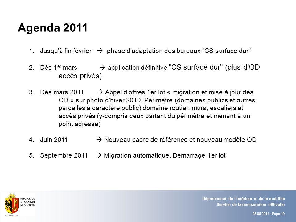 08.06.2014 - Page 10 Service de la mensuration officielle Département de l'intérieur et de la mobilité Agenda 2011 1.Jusqu'à fin février phase d'adapt