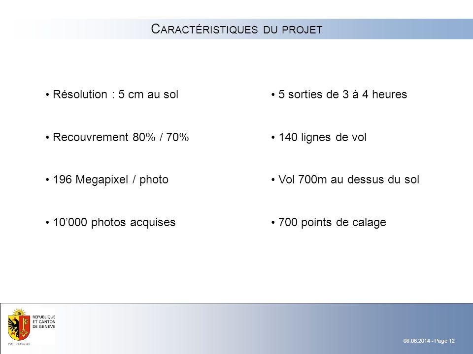 08.06.2014 - Page 12 C ARACTÉRISTIQUES DU PROJET Résolution : 5 cm au sol Recouvrement 80% / 70% 196 Megapixel / photo 10000 photos acquises 5 sorties