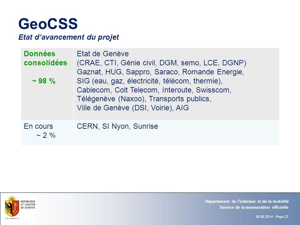 08.06.2014 - Page 22 GeoCSS Etat davancement du projet Données consolidées ~ 98 % Etat de Genève (CRAE, CTI, Génie civil, DGM, semo, LCE, DGNP) Gaznat