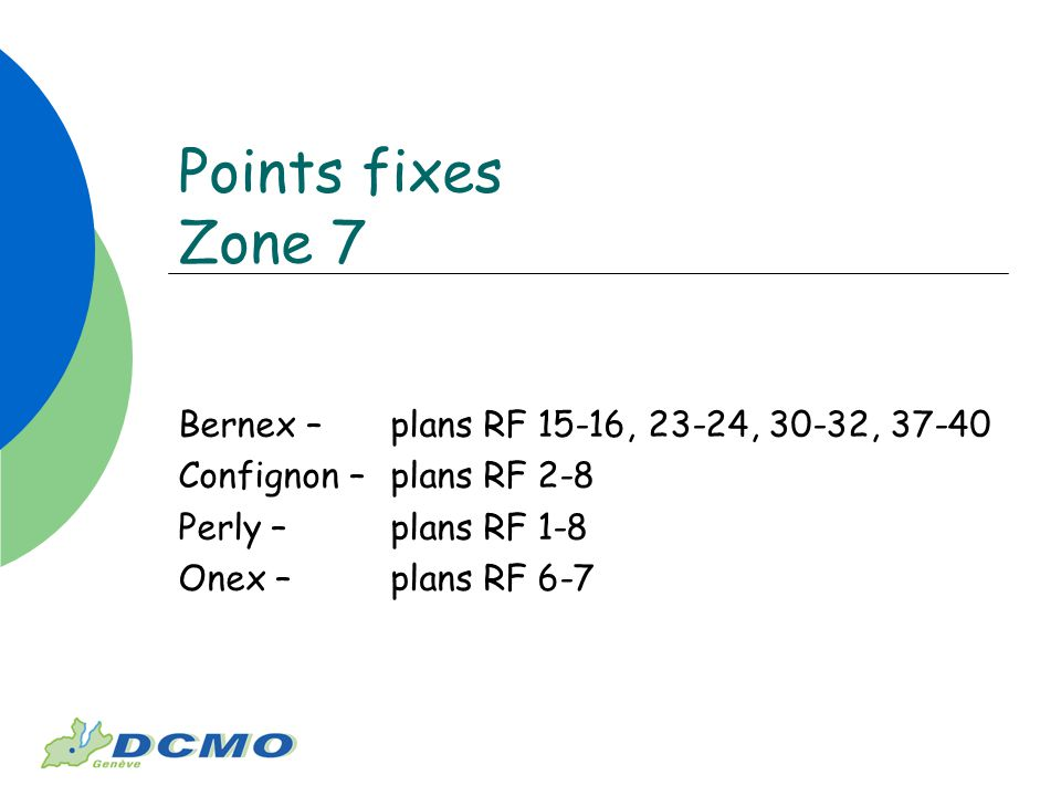 Points fixes Zone 7 Bernex – plans RF 15-16, 23-24, 30-32, 37-40 Confignon – plans RF 2-8 Perly – plans RF 1-8 Onex – plans RF 6-7