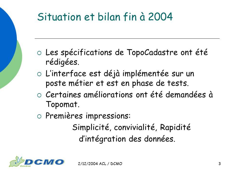 2/12/2004 ACL / DCMO 3 Situation et bilan fin à 2004 Les spécifications de TopoCadastre ont été rédigées. Linterface est déjà implémentée sur un poste