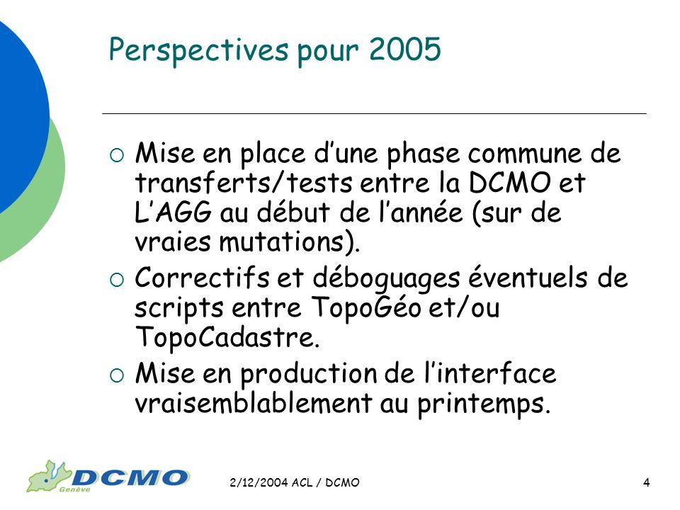 2/12/2004 ACL / DCMO 4 Perspectives pour 2005 Mise en place dune phase commune de transferts/tests entre la DCMO et LAGG au début de lannée (sur de vr