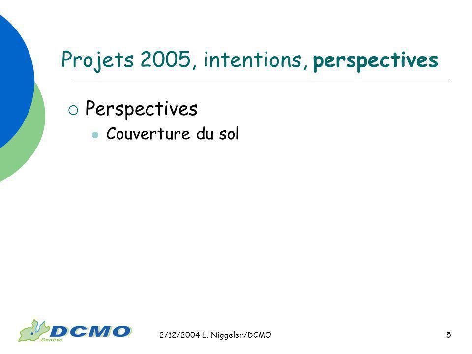 2/12/2004 L. Niggeler/DCMO 5 Projets 2005, intentions, perspectives Perspectives Couverture du sol