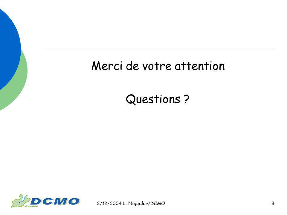2/12/2004 L. Niggeler/DCMO 8 Merci de votre attention Questions ?
