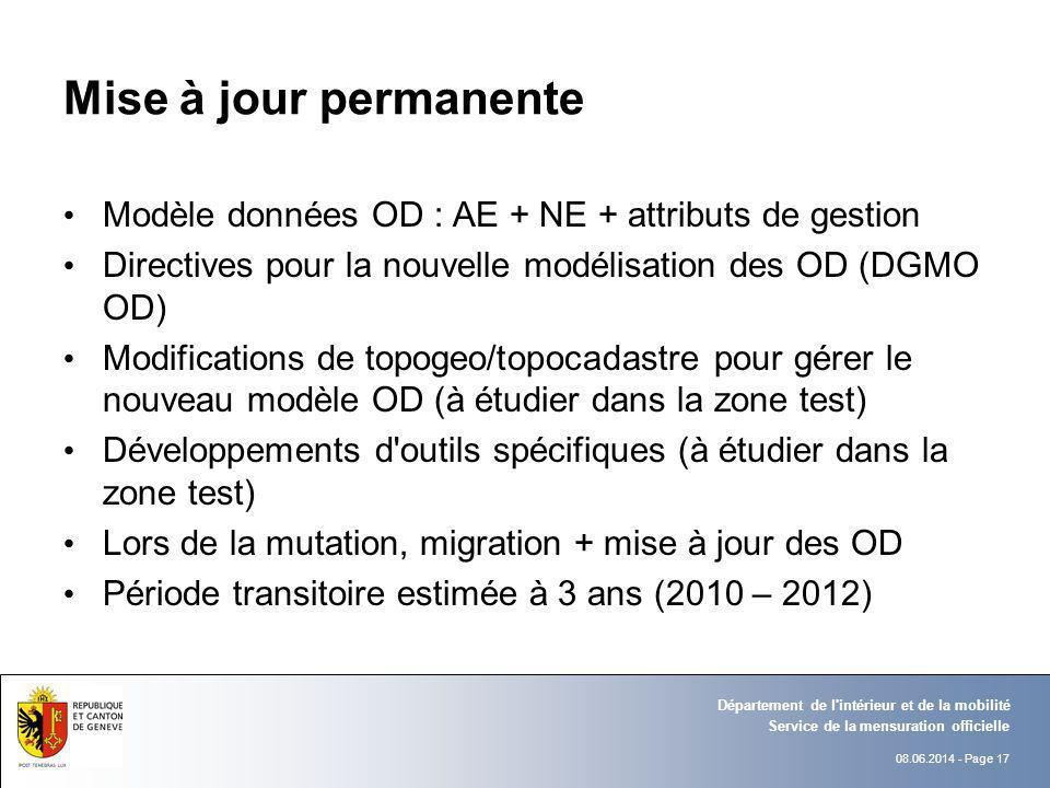 08.06.2014 - Page 17 Service de la mensuration officielle Département de l'intérieur et de la mobilité Mise à jour permanente Modèle données OD : AE +