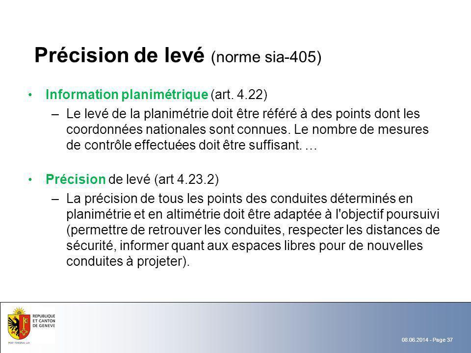 08.06.2014 - Page 37 Précision de levé (norme sia-405) Information planimétrique (art. 4.22) –Le levé de la planimétrie doit être référé à des points