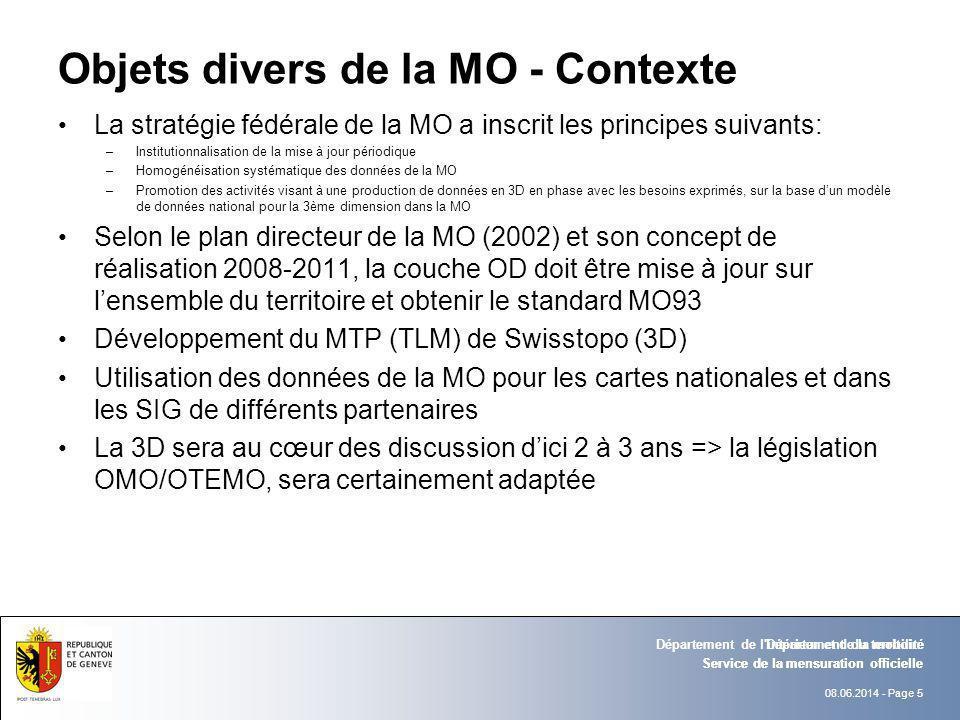 08.06.2014 - Page 5 Service de la mensuration officielle Département de l'intérieur et de la mobilité Objets divers de la MO - Contexte La stratégie f