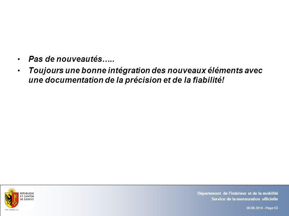 08.06.2014 - Page 53 Service de la mensuration officielle Département de l'intérieur et de la mobilité Pas de nouveautés….. Toujours une bonne intégra