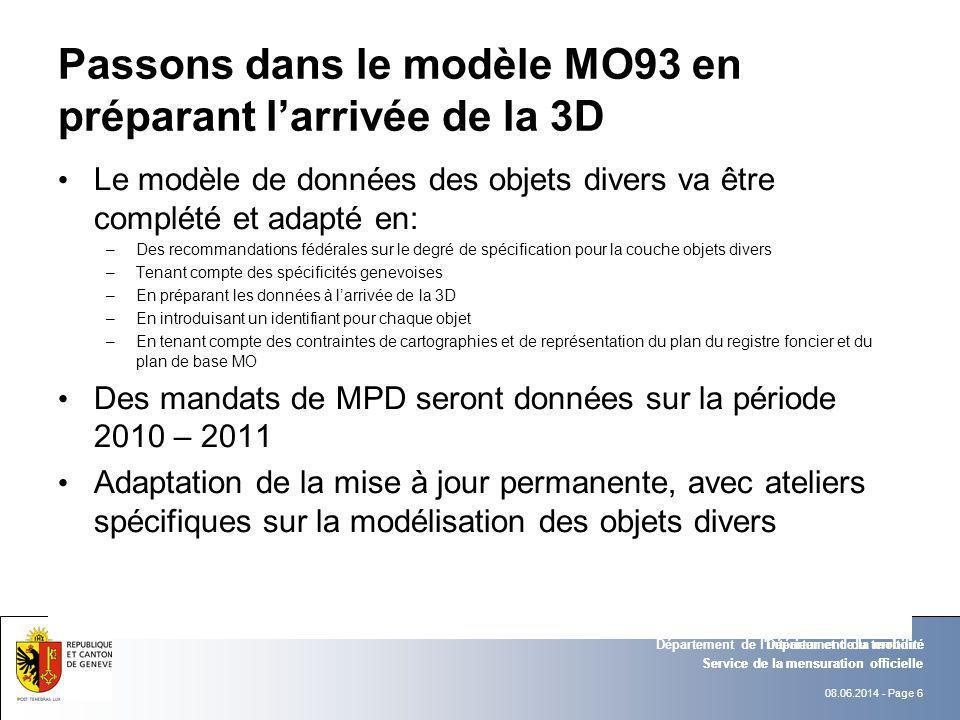 08.06.2014 - Page 6 Service de la mensuration officielle Département de l'intérieur et de la mobilité Passons dans le modèle MO93 en préparant larrivé