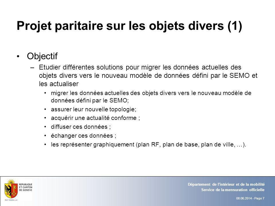 08.06.2014 - Page 7 Service de la mensuration officielle Département de l'intérieur et de la mobilité Projet paritaire sur les objets divers (1) Objec