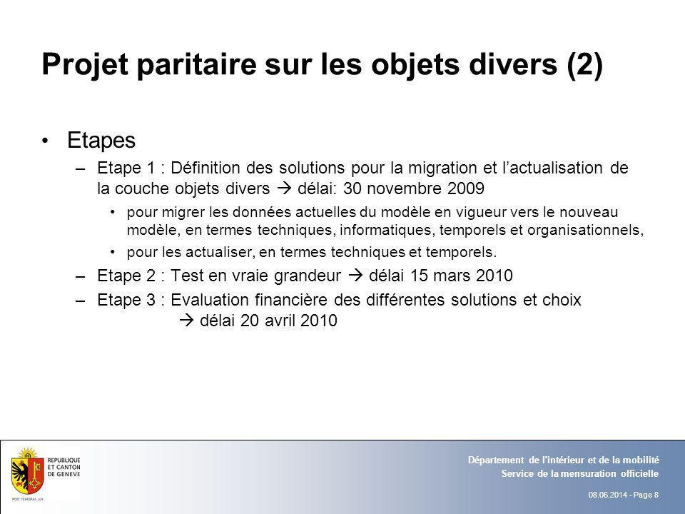 08.06.2014 - Page 8 Service de la mensuration officielle Département de l'intérieur et de la mobilité Projet paritaire sur les objets divers (2) Etape