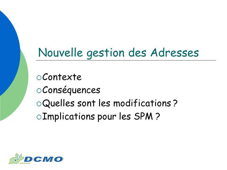 Nouvelle gestion des Adresses Contexte Conséquences Quelles sont les modifications ? Implications pour les SPM ?