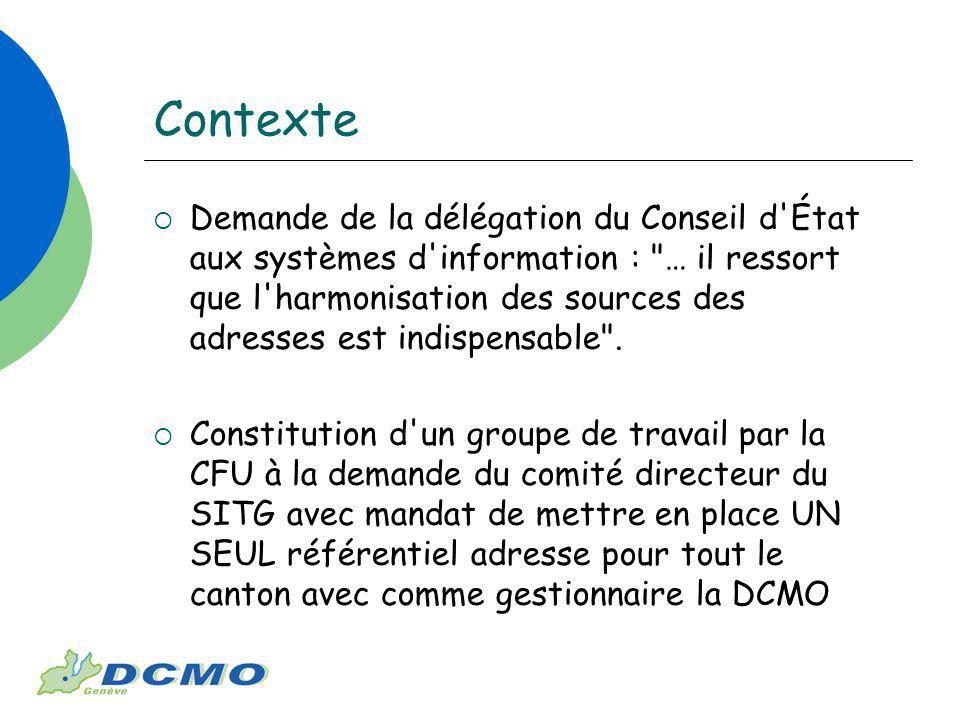 Contexte Demande de la délégation du Conseil d État aux systèmes d information : … il ressort que l harmonisation des sources des adresses est indispensable .