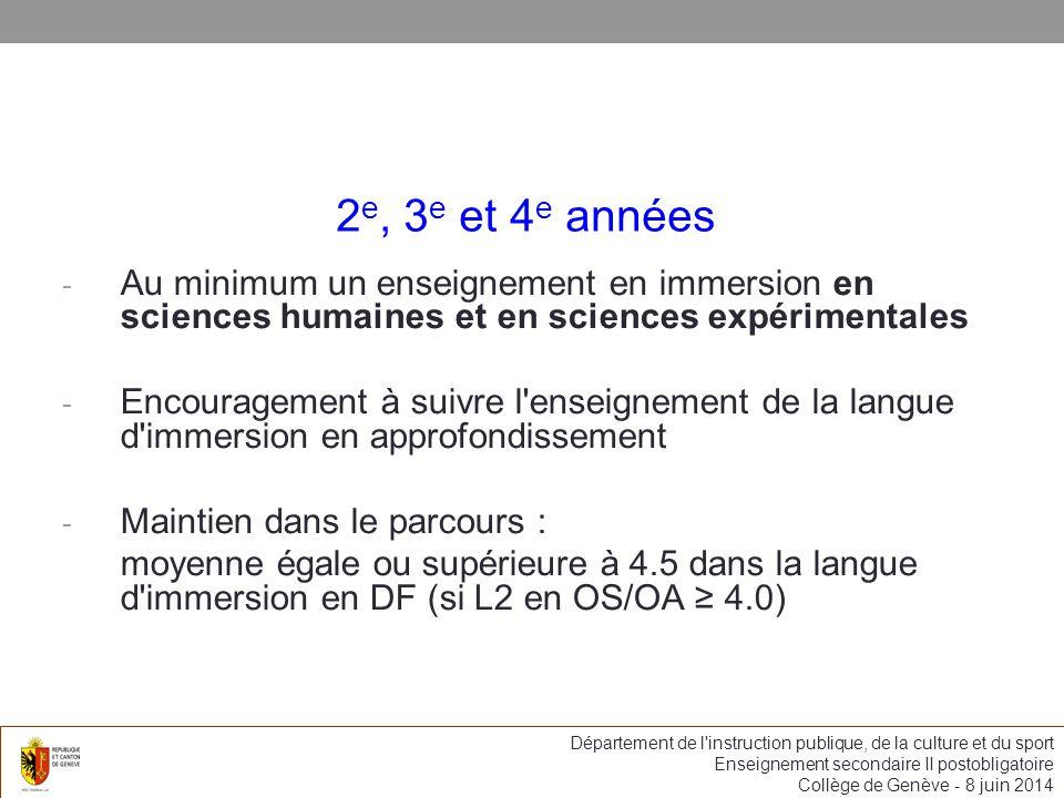 2 e, 3 e et 4 e années - Au minimum un enseignement en immersion en sciences humaines et en sciences expérimentales - Encouragement à suivre l enseignement de la langue d immersion en approfondissement - Maintien dans le parcours : moyenne égale ou supérieure à 4.5 dans la langue d immersion en DF (si L2 en OS/OA 4.0) Département de l instruction publique, de la culture et du sport Enseignement secondaire II postobligatoire Collège de Genève - 8 juin 2014