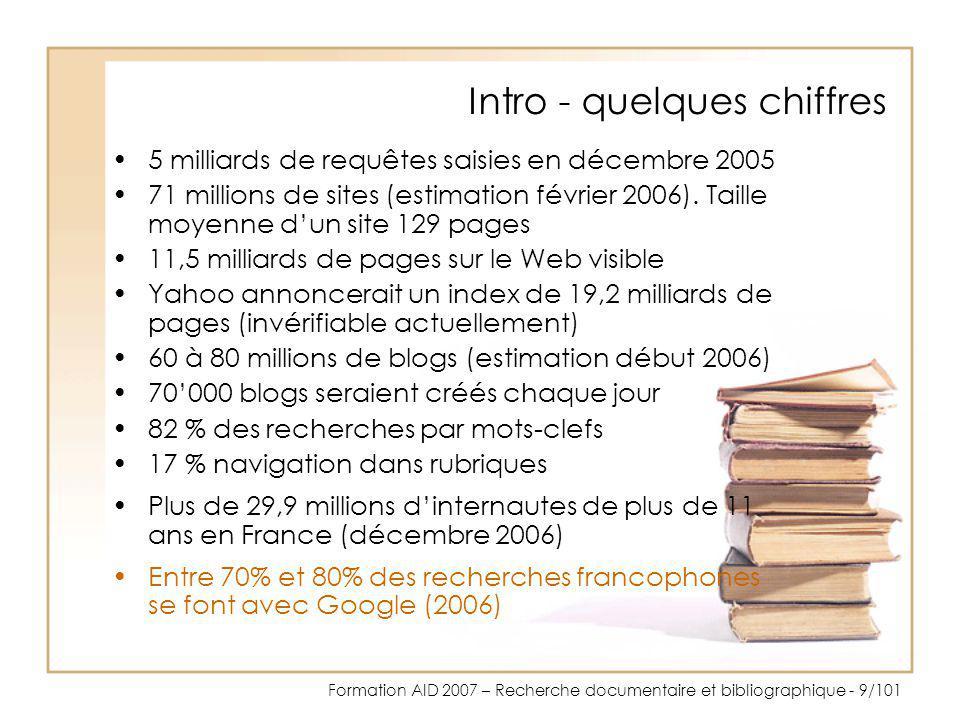 Formation AID 2007 – Recherche documentaire et bibliographique - 100/101 Quelques adresses utiles pour les élèves Cerise http://www.ext.upmc.fr/urfist/Cerise http://www.ext.upmc.fr/urfist/ Chercher pour trouver : l espace des élèves http://www.ebsi.umontreal.ca/jetrouve/internet/Chercher pour trouver : l espace des élèves http://www.ebsi.umontreal.ca/jetrouve/internet/ Cyberthèque du CEC André-Chavanne (Genève) http://www.chavanne1.net/cybertheque/Cyberthèque du CEC André-Chavanne (Genève) http://www.chavanne1.net/cybertheque/ Présentation destinée plutôt aux enfants PARDI Pour Un Apprentissage de la Recherche Documentaire Interactif http://www.ac-creteil.fr/pointdoc/peda/pardi.htmlPARDI Pour Un Apprentissage de la Recherche Documentaire Interactif http://www.ac-creteil.fr/pointdoc/peda/pardi.html