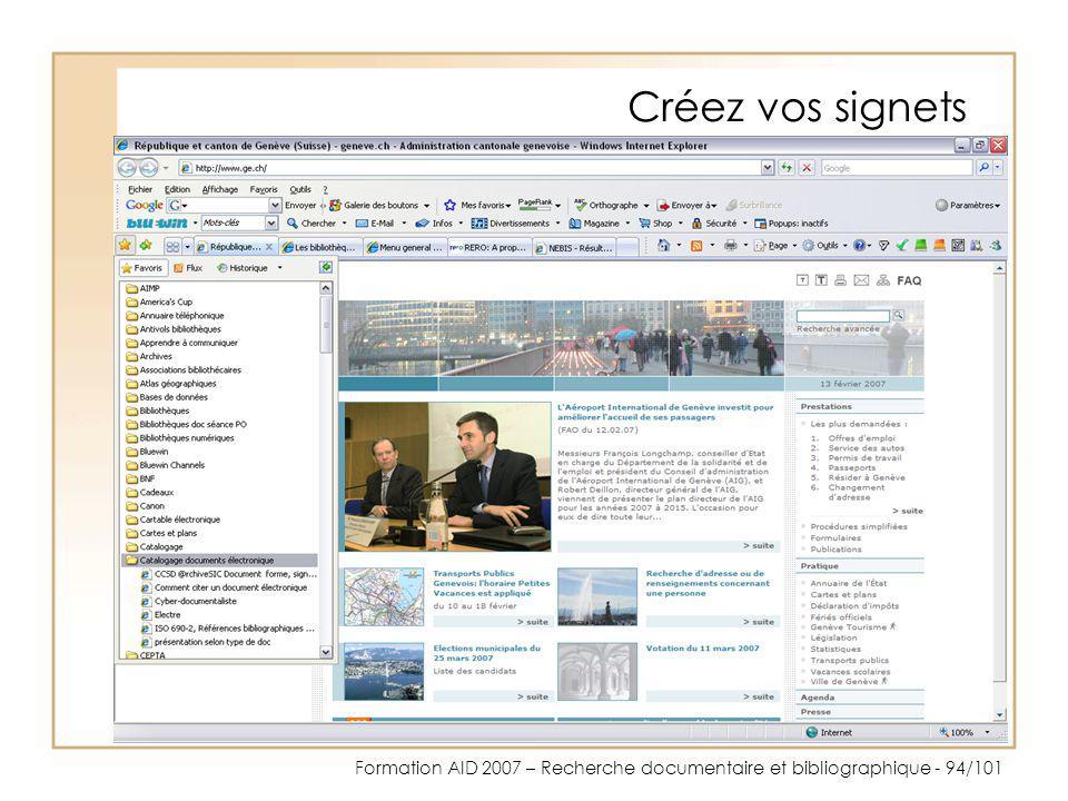 Formation AID 2007 – Recherche documentaire et bibliographique - 94/101 Créez vos signets